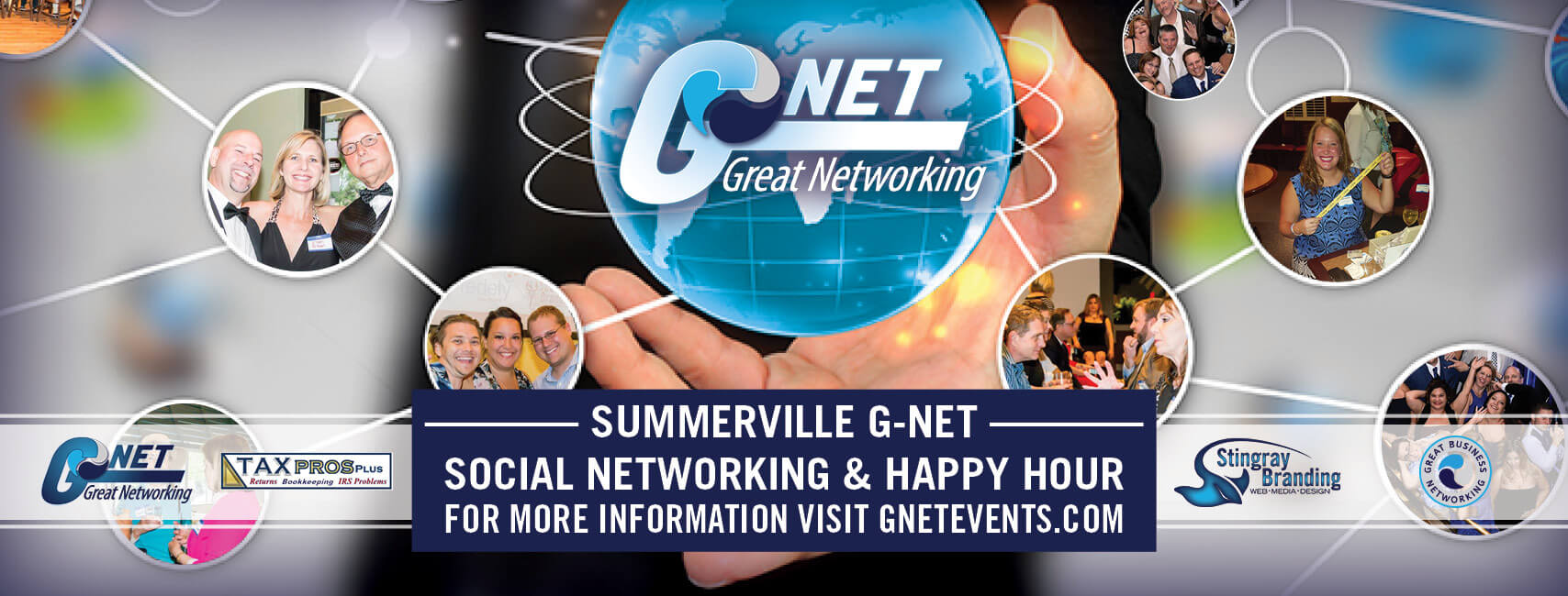G-Net Summerville social networking and happy hour header image